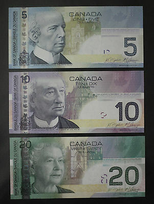 Canada $5 /$10 /$20 Dollar Paper Series Banknotes Set Uncirculated