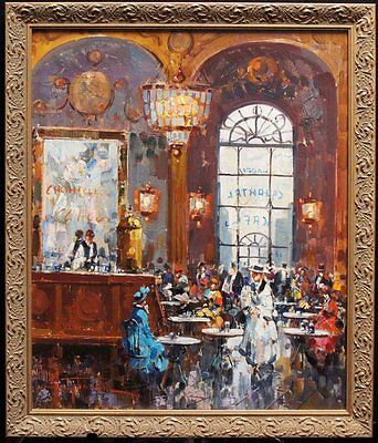 "Listed Italian Antonio Gravina Original Signed Oil/Canvas ""French Cafe"" C.1965"