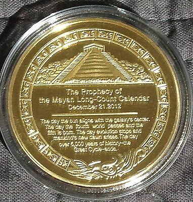 Mayan Prophecy/Calendar 1oz Gold Plated Medallion In Acrylic Capsule