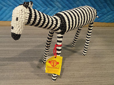 "7"" Tall Monkey Biz South Africa Beaded Zebra Hand Made Black White Cape Town New"