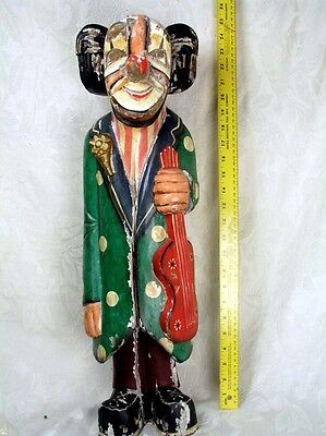Large Antique Hand Carved Wooden Clown Holding Guitar Unique Circus/Carnival Art