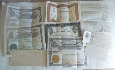 LOT OF 5 MINES STOCKS FROM 1919 TO 1936  w Receipt