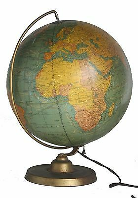 "10 "" Terrestrial  Antique Glass Lighted Table Globe 1930 Cram"