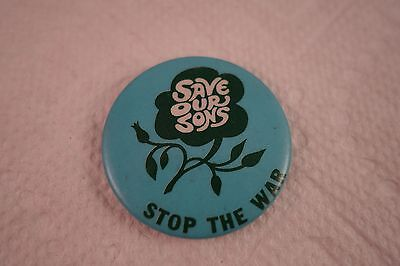 Vintage Nos 1960's Anti-Vietnam - Save Our Sons Stop The War - Button Pin-Back