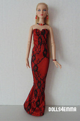 Tonner ANTOINETTE & CAMI Handmade Fashion Clothes red GOWN + JEWELRY NO DOLL