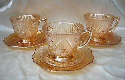 Iris and Herringbone Iridescent Depression Glass Cup and Saucer by Jeannette