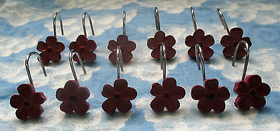 Pretty Burgundy/ Red Flowers Shower Curtain Hooks Set Of 12