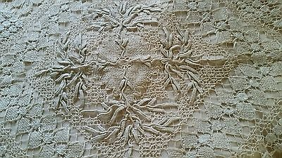 "Antique Lace Tablecloth Ecru Topper Muslin Linen Hand Made 33""×33"""