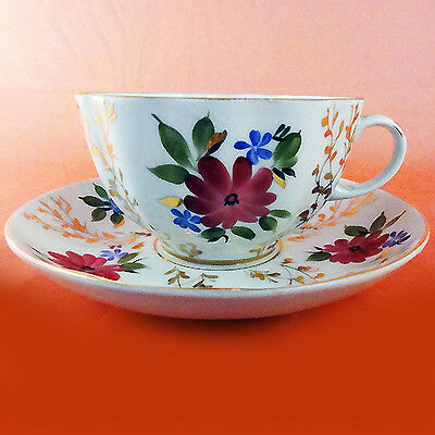 Lomonosov Golden Grass CUP & SAUCER NEW NEVER USED Russian Porcelain