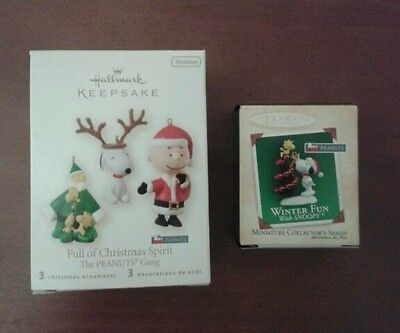 Hallmark Snoopy Miniature  Ornaments Set of 2