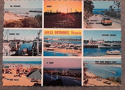 postcard 1970s lakes entrance beach jetty highway fishing entrance etc Victoria