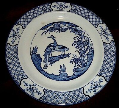 "Wood & Sons Yuan Dinner Plate Blue With Birds 9"" England"