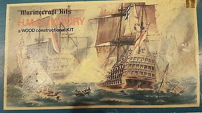 Marinecraft Wooden Model Kit H.M.S. Victory Vintage 1950s Made in England Hales