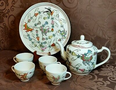 VINTAGE Porcelain Oriental tea set red trim & Tray CHINA Colorful Butterflies!