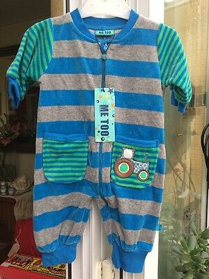 BNWTA Boys Velour Style Tractor Romper By Me Too Age 0-3 Months RRP £30