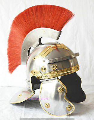 Roman Centurion Medieval Knight Armour Helmet With Red Crest Plume-Replica