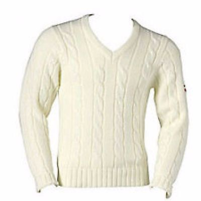 Gunn and Moore long sleeve cable knit sweater cream + burgundy/gold trim Large