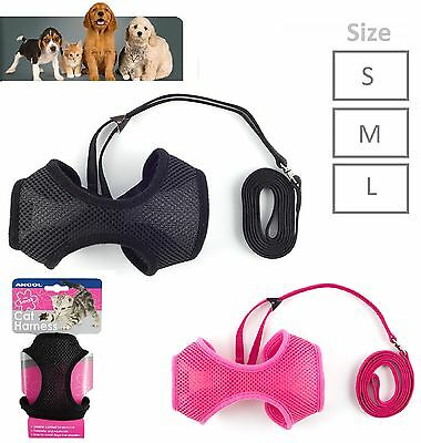 Ancol Cat Walking Lead & Harness Soft Nylon Mesh Pink Black Small Medium Large