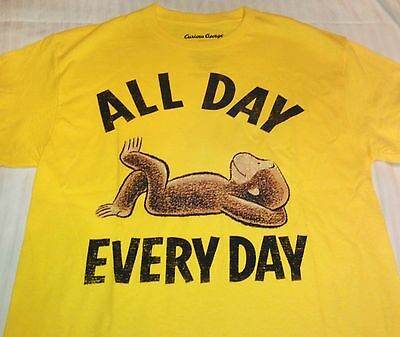"""""""NEW"""" Curious George ~ All Day SHIRT ~ Yellow Adult Sz L 42 / 44 Short Sleeve"""