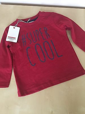 "Boys 12mth-3 Years Red ""#Super Cool""  Long Sleeved Top by MInoti - New With Tag"