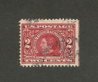 1909 US 2 Cent  Red Alaska Yukon Pacific Expo Seattle Three sides Right Imperf