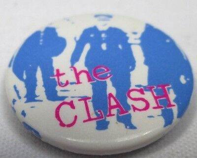 The Clash Vintage 25mm Blue Police Badge Pin Button Punk New Wave