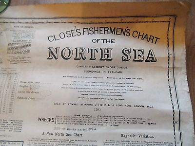 Very rare,Very Large Closes Fishermans Chart of the North Sea October 1961