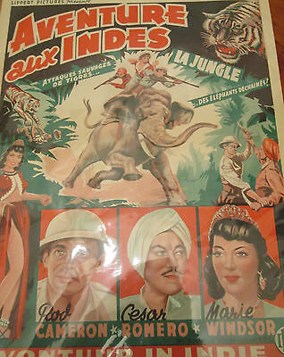 1950s Original French film poster Aventure aux Indes rare