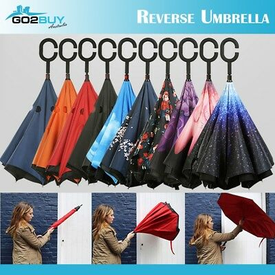 Double Layer Inverted Umbrella w/ Hands-Free C-Handle Folding Rain Inside Out