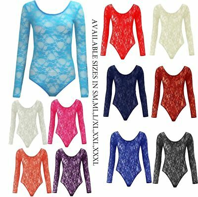 New Womens Floral Lace Body Suits Long Sleeve Leotard Body Lace Top 8-26