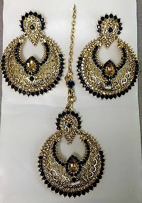 Indian Bollywood Gold Plated Navy Blue Earrings and Maang Tikka Set.