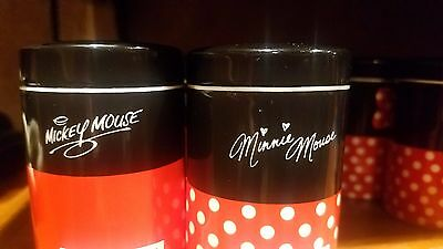 Disney Parks Mickey and Minnie set Canister Shaker Salt Pepper NEW