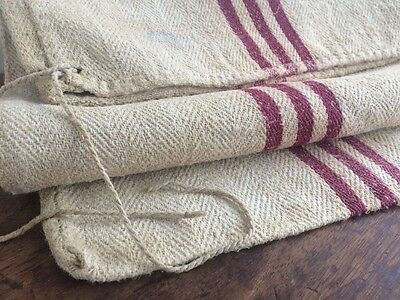 Vtg Antique French Linen Hessian Hemp Sack Red Maroon Striped Ticking Fabric 70