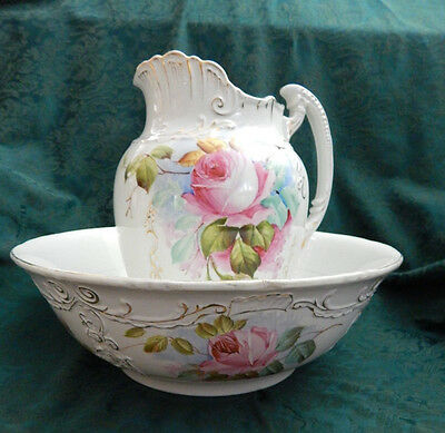 Antique Floral Wash Basin and Pitcher - Hand Painted White Embossed Gold Trim