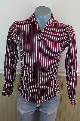 Vintage 60s X-Tremely Tapered Mens Small Mod Striped Cotton Button Up Shirt