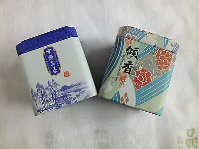 2 Japanese Blue Floral S Tea Sugar Coffee Candy Tin Caddy Box Chinese Party A10