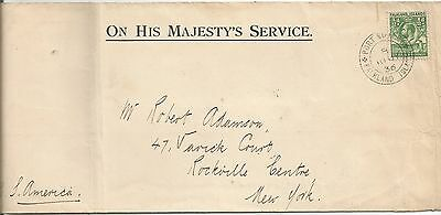Falkland Is 1936 Ohms Envelope To New York Franked By Halfpenny Green See Scan
