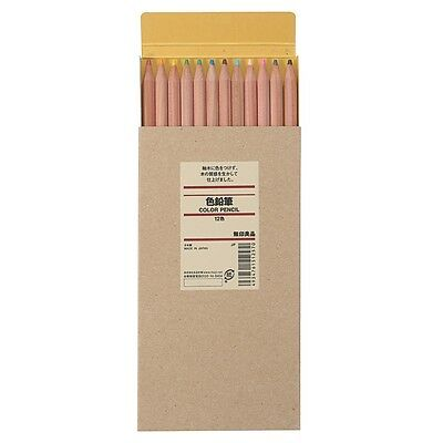 muji 36 Color Pencil with Paper Tube natural wood axis made in japan half size
