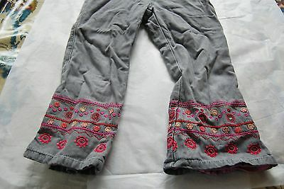 Catamini little girls jean trousers with embroidery 6yrs