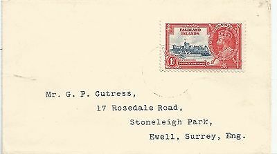 FALKLAND IS 1935  ENVELOPE EWELL SURREY TO  FRANKED BY 1d GV JUBILEE,SEE SCAN