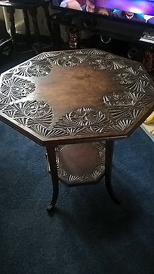 Edwardian Octagonal Chip Carved Centre Table