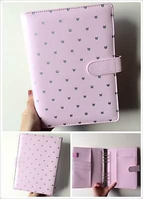 cute cat pink planner organizer A5 large desk size PU leather NEW 6ring