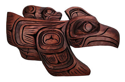 Northwest Coast BC Canada First Nations Indigenous Art Raven Frog Carving Plaque