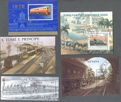 Trains-Railways collection 10 different miniature sheets