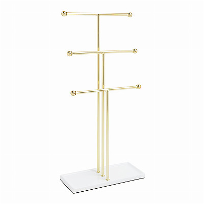 Tbar Extra Tall Simple Jewelry Stand Necklace Bracelet Tree Display Holder Brass
