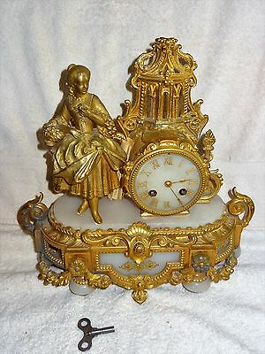 ~LOOK~ Antique French Gilt Bronze & White Marble Mantle Mantel Clock w/Key