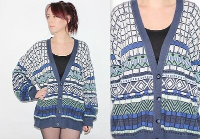 Vintage 80's COTTON Cream Blue Green PATTERN OVERSIZE SLOUCH GRANDAD Cardigan XL