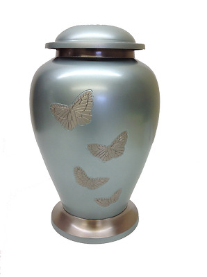 Funeral cremation urn silver blue brass with engraved butterflies Urne funéraire