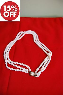 Vintage Original and High quality 7 stand pearls necklace 18k solid gold clasp