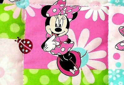 "Handmade, Disney's""Minnie & flowers"", 35x43in, girls, cotton baby/toddler quilt"